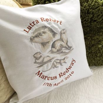 embroidered otter cushion with fill