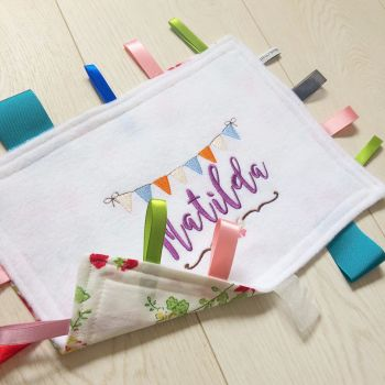 Personalised baby taggy blanket