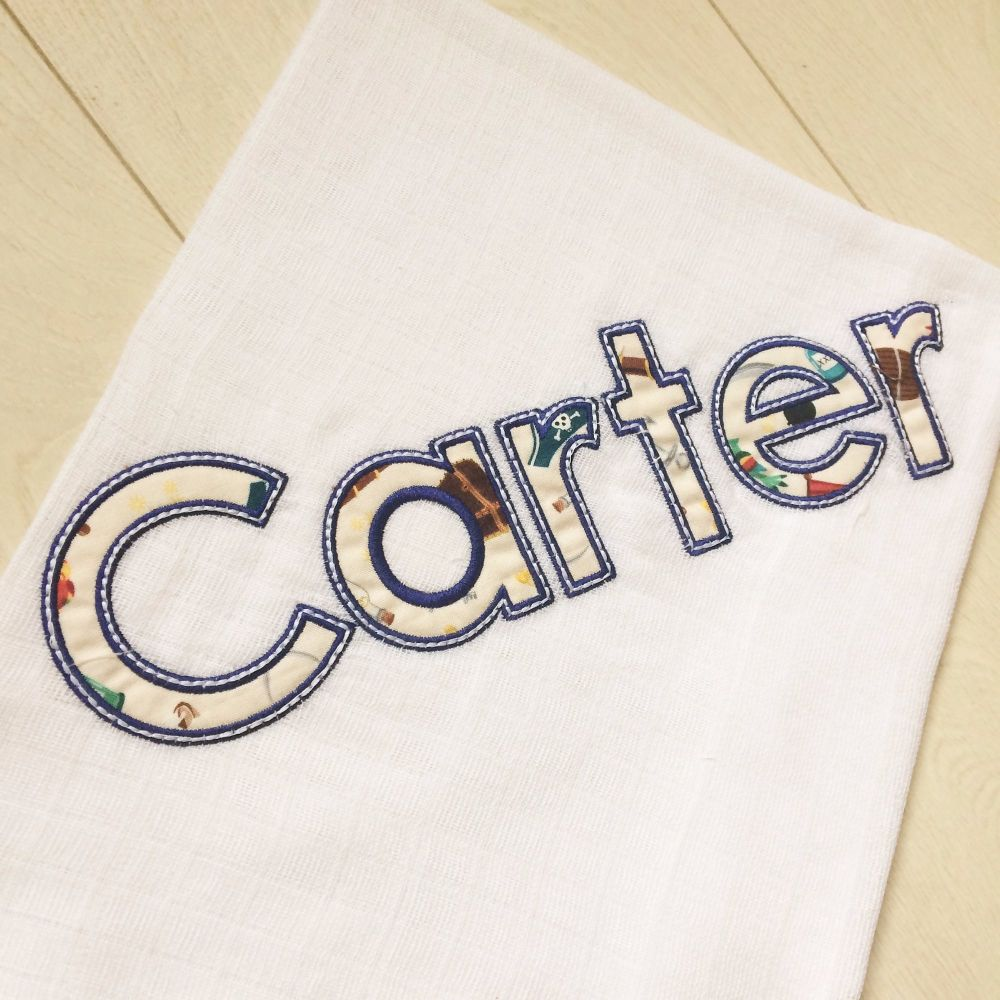 Personalised applique and embroidered baby muslin square