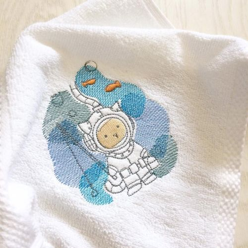 Personalised underwater kitty baby flannel