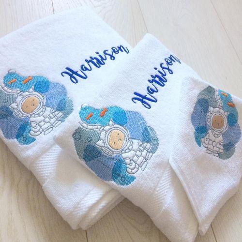 Personalised Underwater Kitty new baby towel set