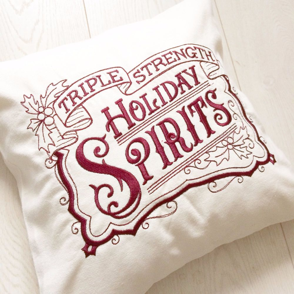 Personalised vintage style christmas cushion fully embroidered with fill