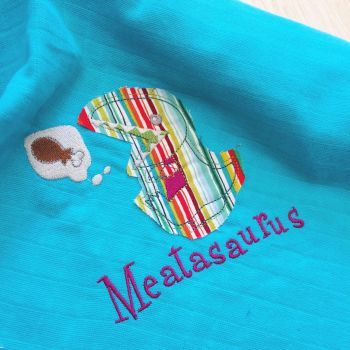 Dinosaur embroidered & applique Meatasaurus baby muslin square