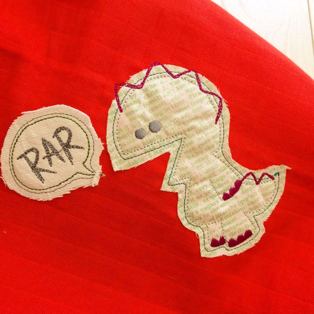 Dinosaur embroidered & applique Rar baby muslin square