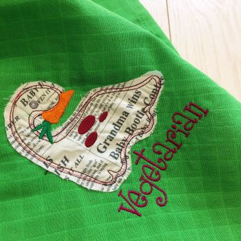 Vegetarian Dinosaur embroidered & applique baby muslin square