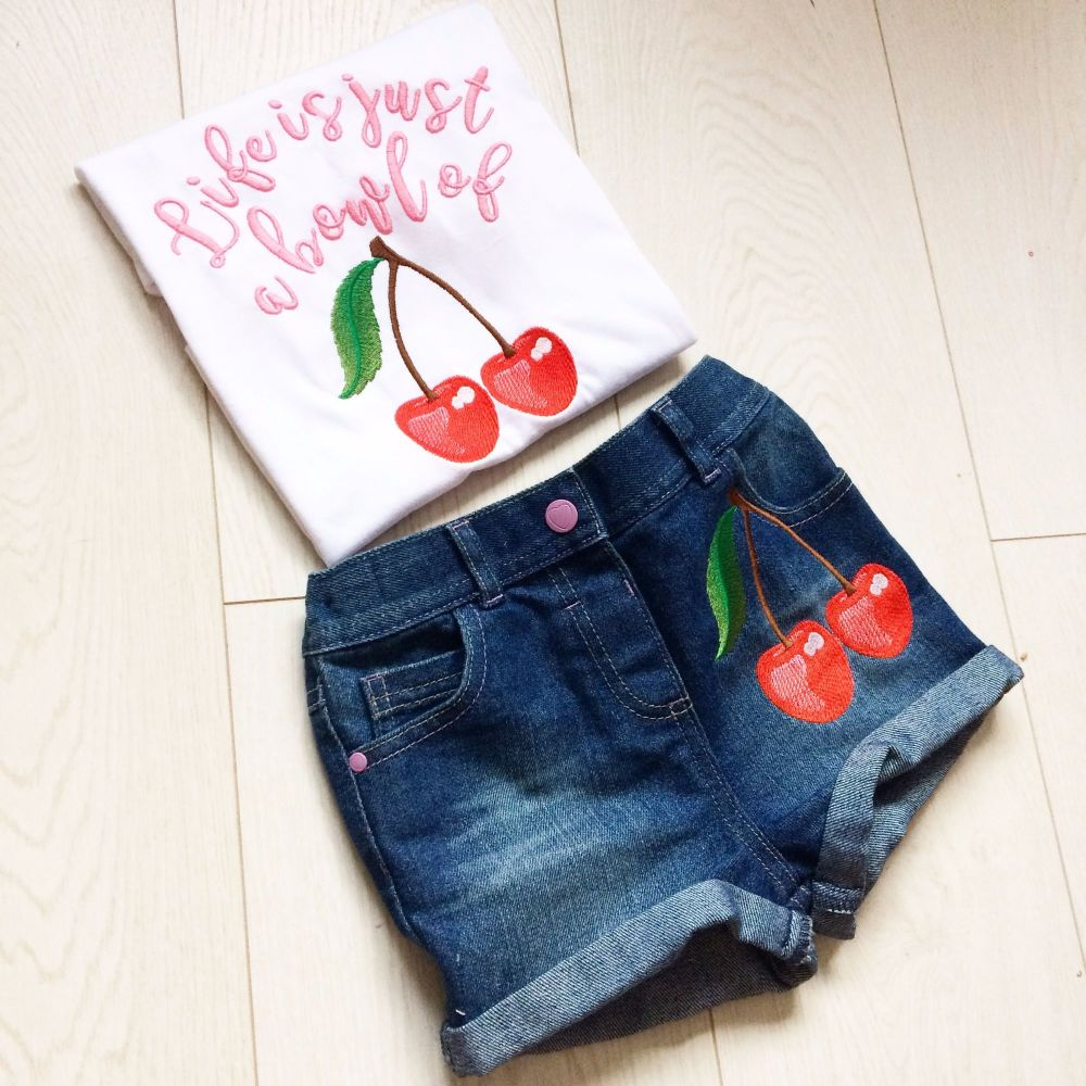 Life is just a bowl of cherries embroidered retro cherrry design children's
