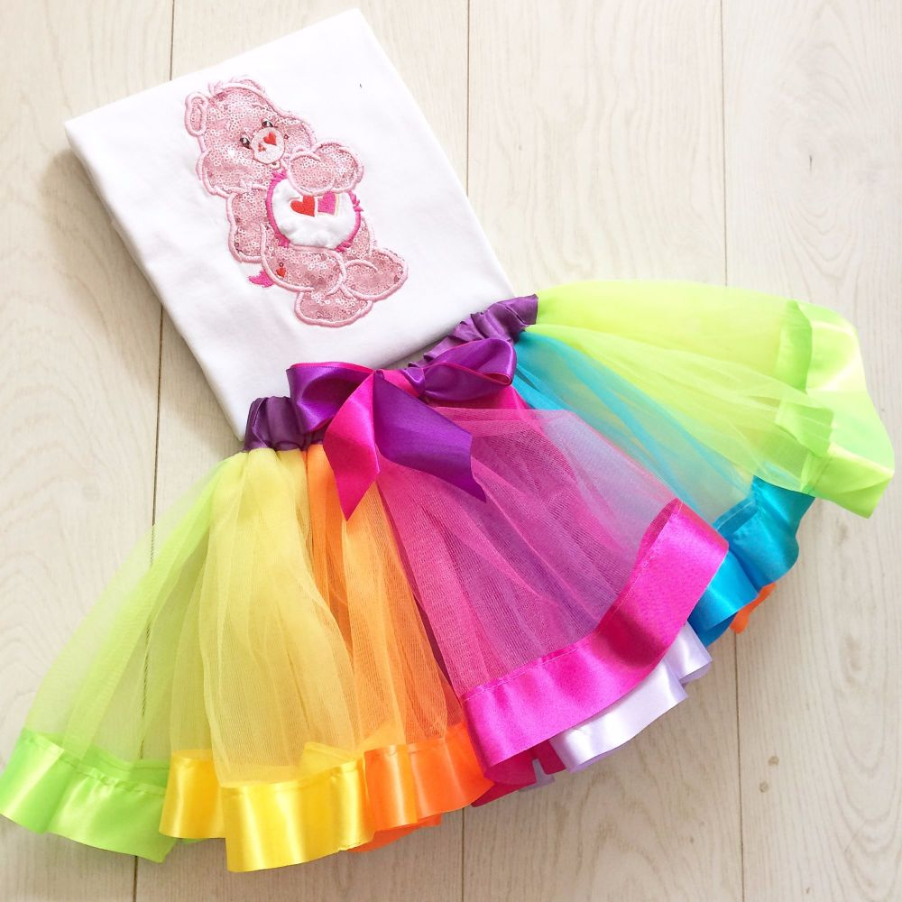 Care Bear Glitter Bear  tutu and onesie vest set or T shirt