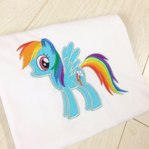 Rainbow Dash My Little Pony Personalised Embroidered Childrens Birthday T Shirt At Jellibabies Baby And Clothes Nursery