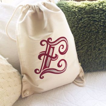 Fully embroidered personalised monogrammed drawstring bag