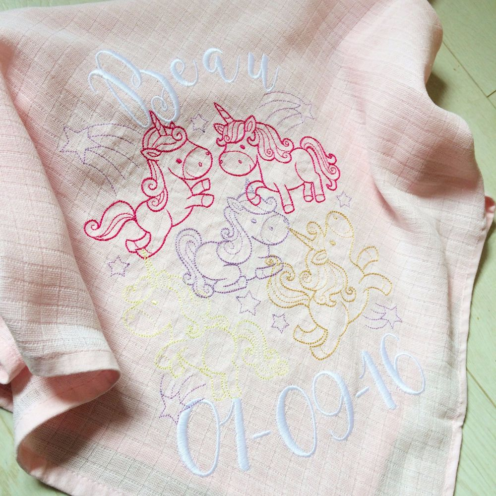 Unicorn embroidered personalised baby muslin square
