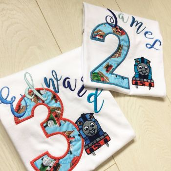 Personalised Thomas the tank engine children's T shirt + party hat for Amy
