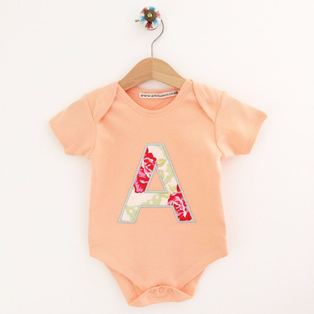 Personalised applique baby onesie vest