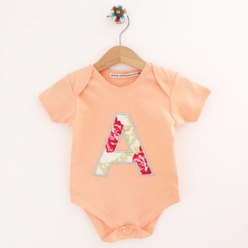 Personalised applique baby onesie vest