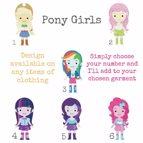 My Little Pony equestria girls personalised embroidered children's T shirt