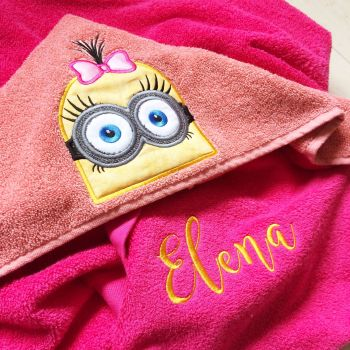 Blue follower inspired personalised hooded baby towel