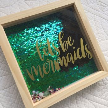 Mermaid sequins treasure box wall art