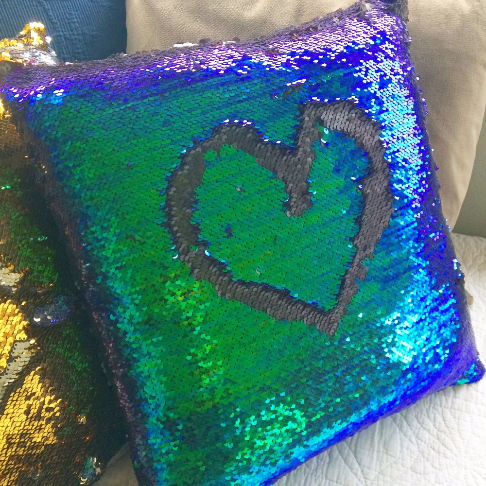 Reversable mermaid sequin cushion