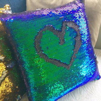 Reversable mermaid sequin cushion