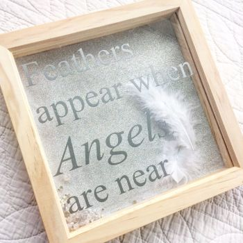 When feathers appear Angels are near  box frame wall art