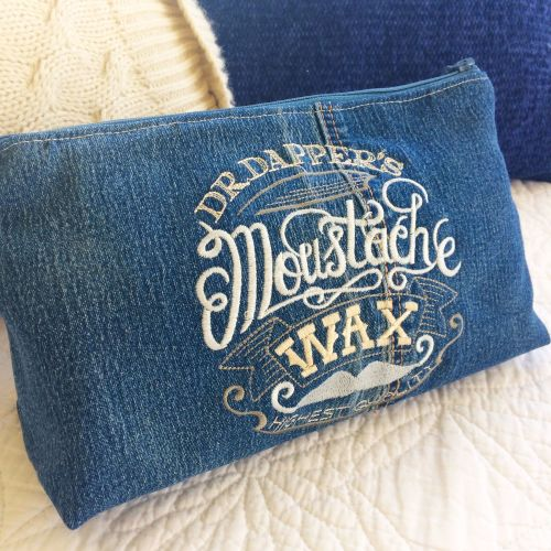Custom made embroidered steampunk gentlemens wash bag