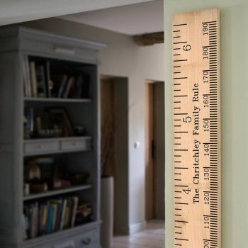 Solid oak personalised wooden height chart rulers