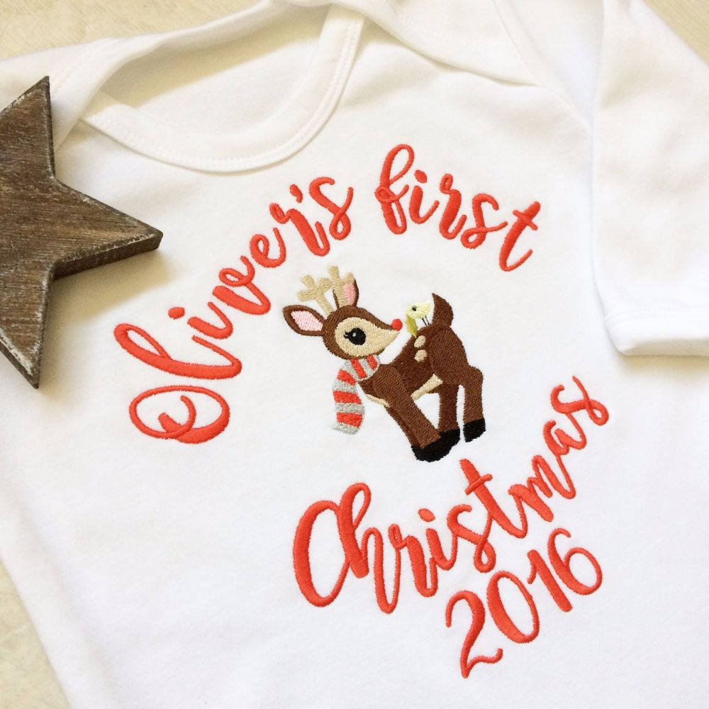 Personalised Baby's first christmas sleepsuit Reindeer