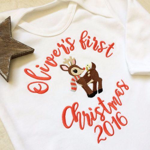 Personalised Baby's first christmas sleepsuit Reindeer