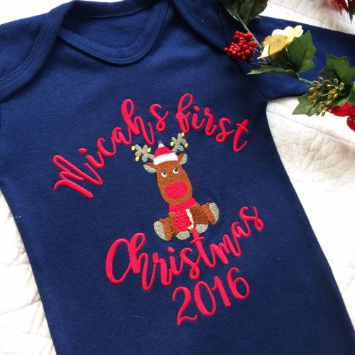 Personalised Baby's first christmas sleepsuit Reindeer for Laura