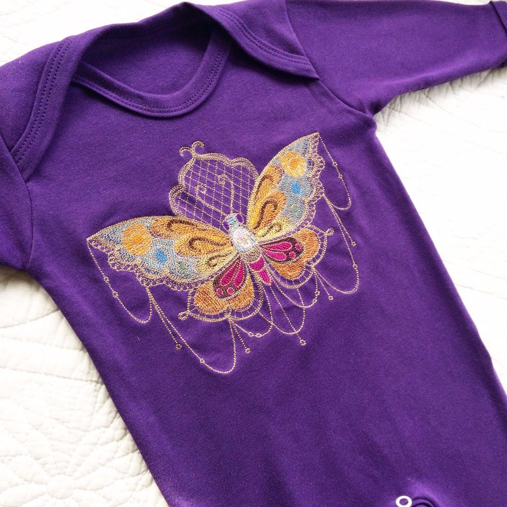 Gothic Day of the Dead embroidered moth babygrow sleepsuit