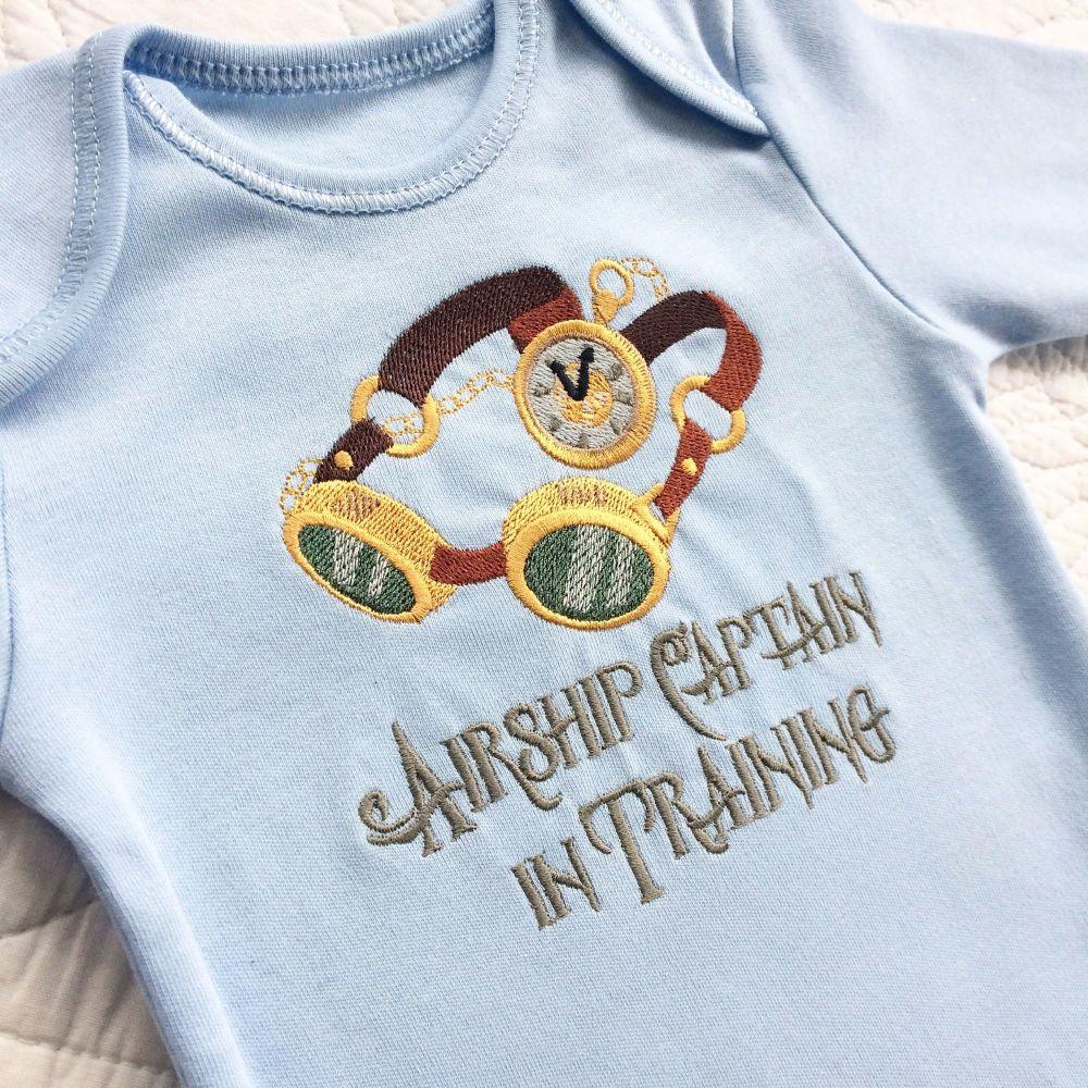 Airship captain in training steampunk gothic baby onesie vest
