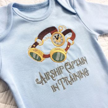 Airship captain in training steampunk gothic baby onesie vest
