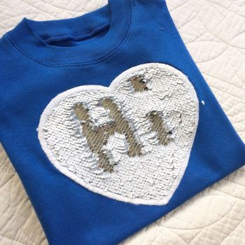Reversable mermaid sequin childrens T shirt white and silver