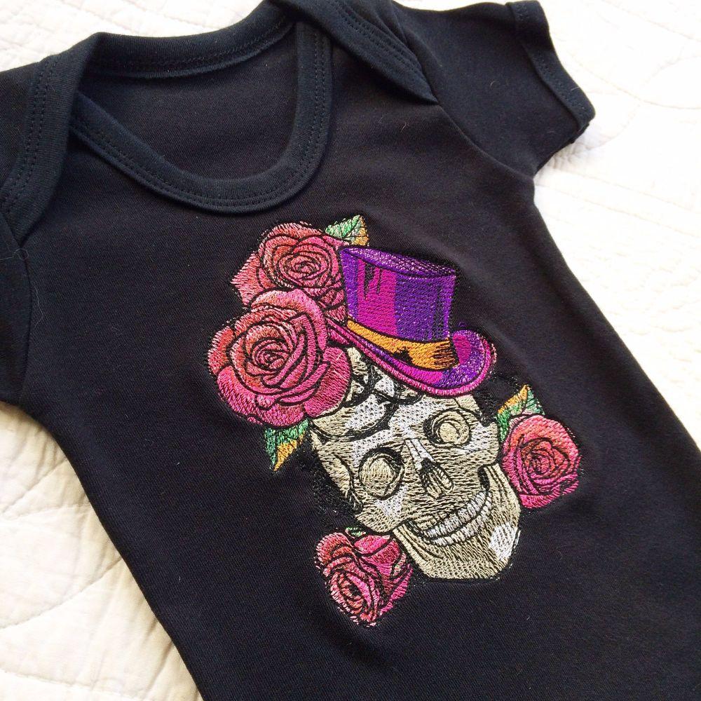 Skeleton steampunk gothic baby onesie vest