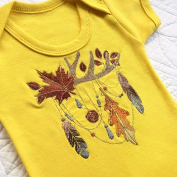 Autumn leaves steampunk gothic baby onesie vest