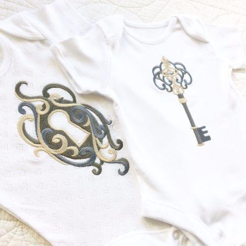 Twins lock and key steampunk gothic baby onesie vest set