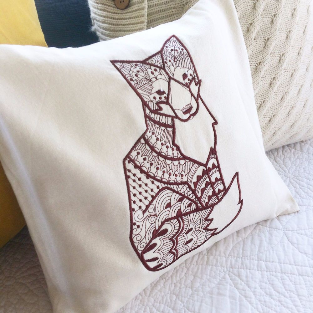 Woodland fox cushion fully embroidered with fill