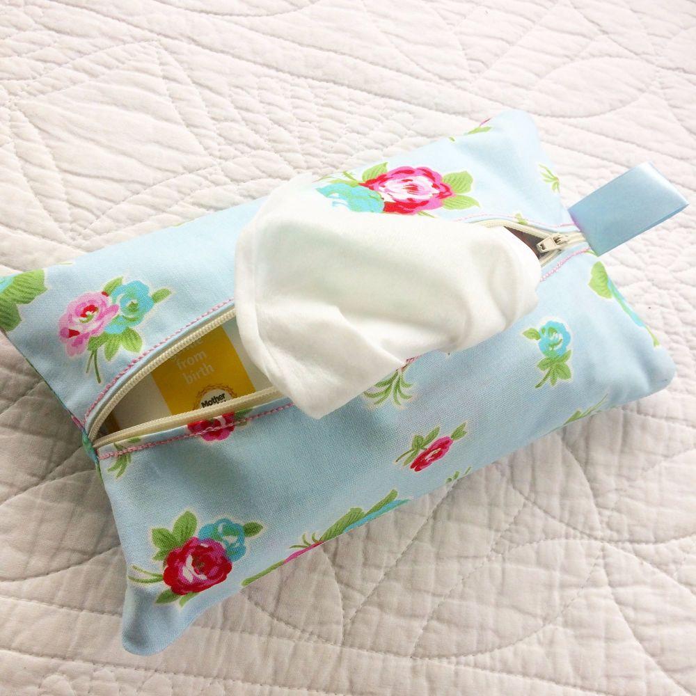 Vintage floral wet wipe bag