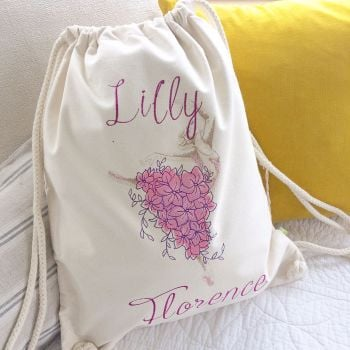 Fully embroidered personalised ballet bag