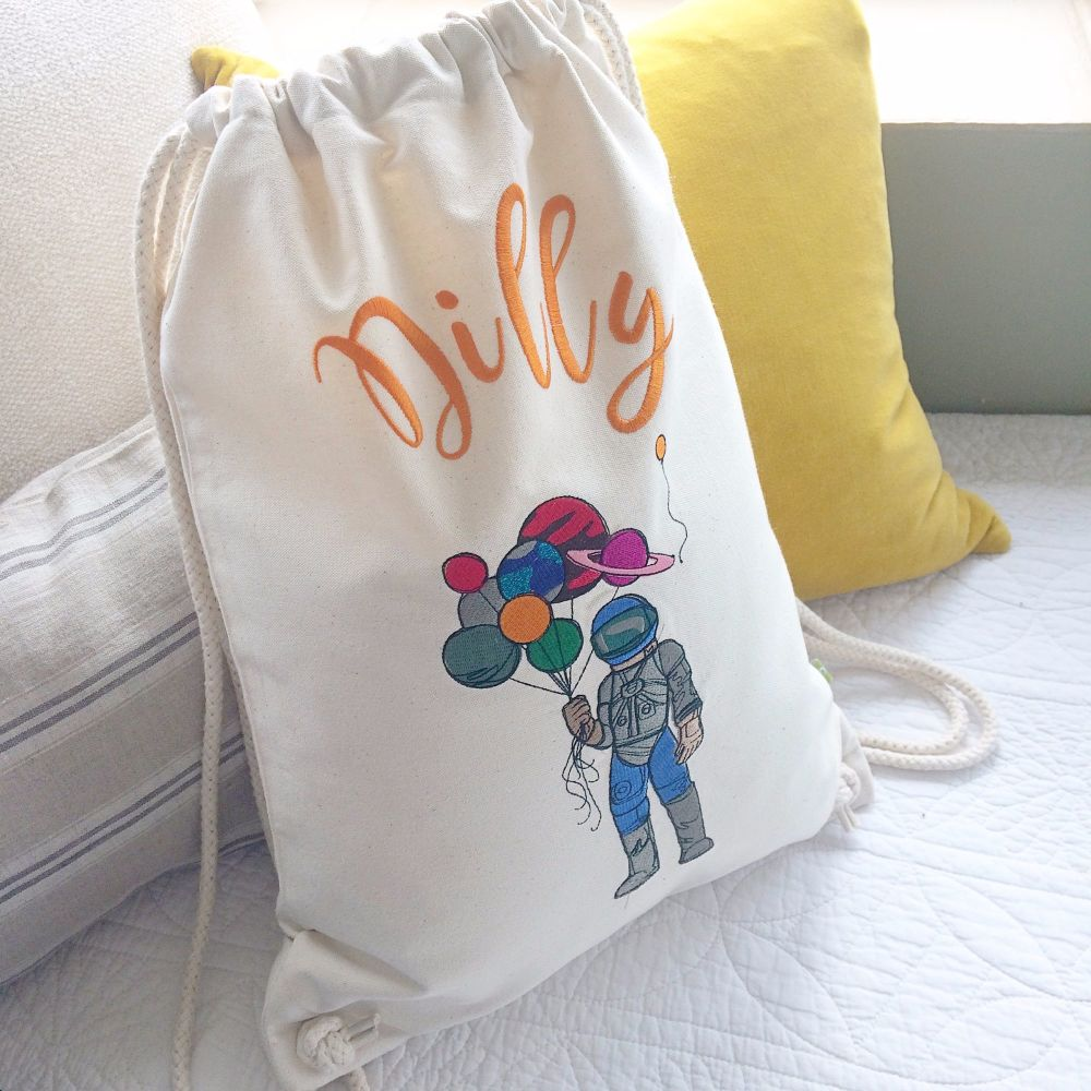 Fully embroidered personalised future astronaut drawstring bag