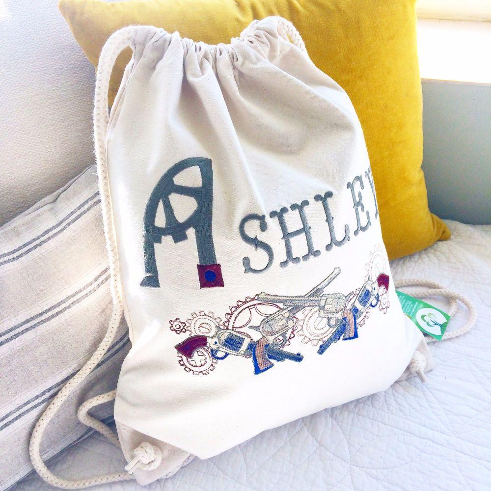 Fully embroidered personalised steampunk gunslinger drawstring bag