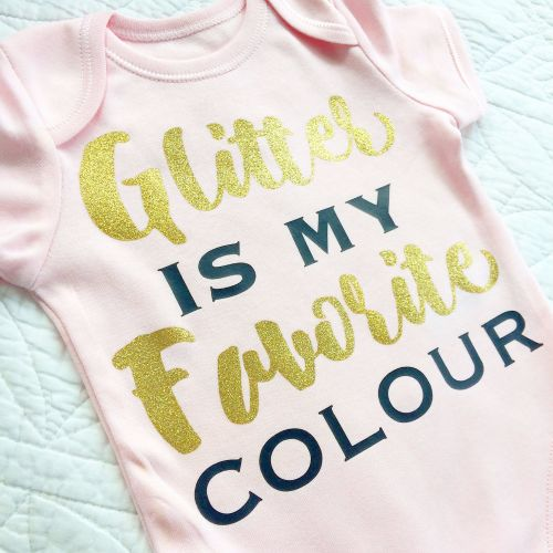 Glitter is my favourite colour  baby onesie vest