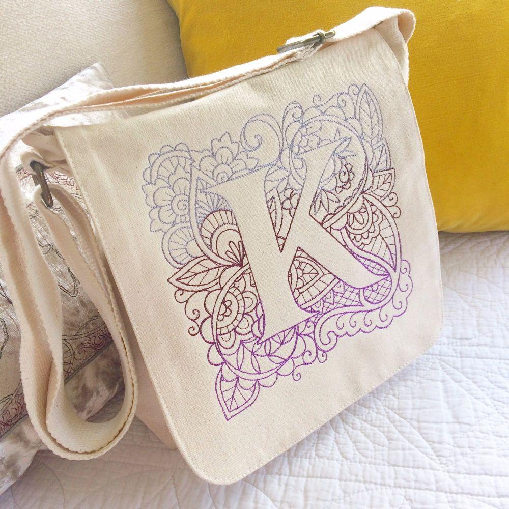 Monogrammed personalised organic fair trade messenger bag
