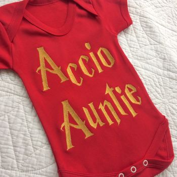 Accio Auntie baby onesie vest by Jellibabies co uk