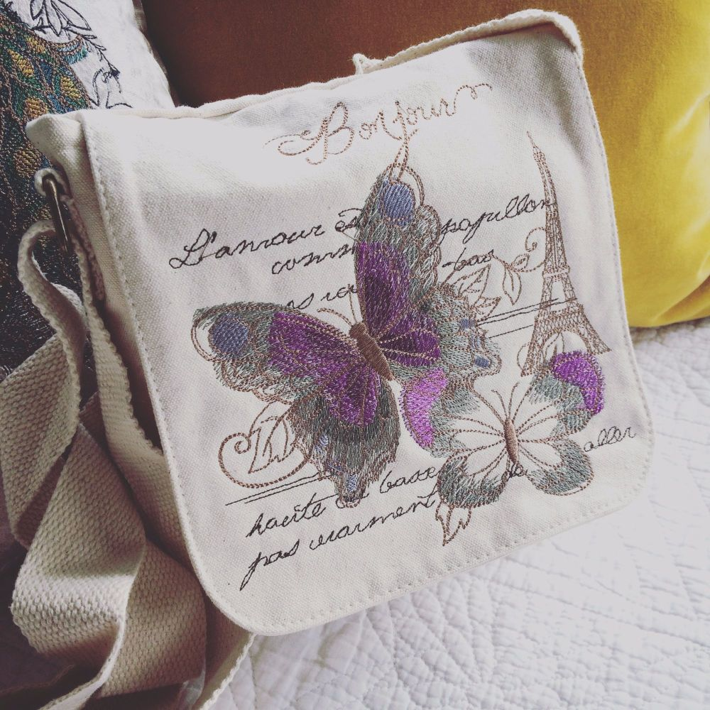 Vintage parisian embroidered butterfly organic fair trade messenger bag