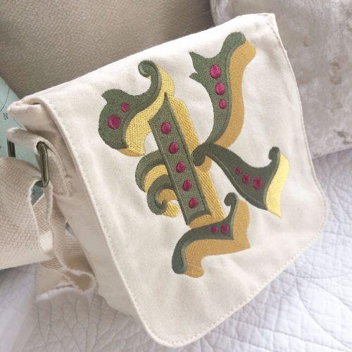 Monogrammed personalised organic fair trade handbag