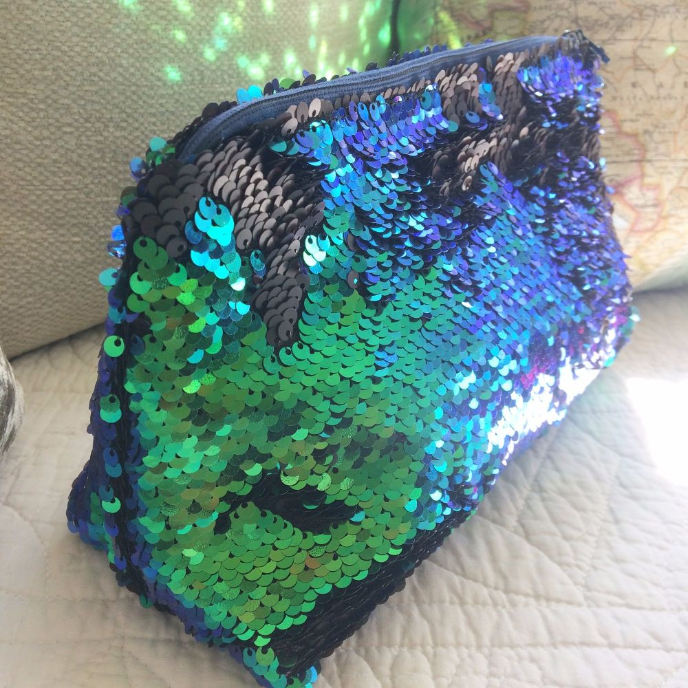 Mermaid sequin clutch bag wash bag