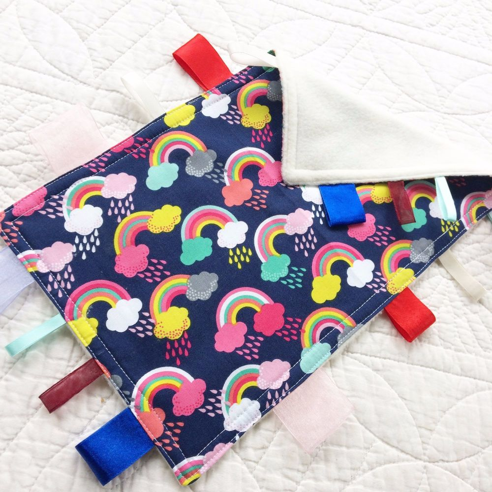Rainbows and unicorns baby taggy blanket