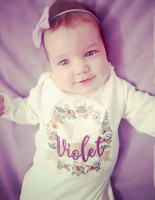 Whimsical floral wreath personalised babygrow sleepsuit by Jellibabies 2