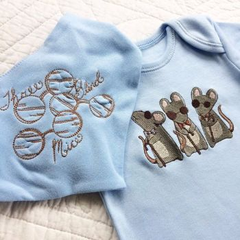 3 Blind mice steampunk babygrow sleep suit and bandana bib set