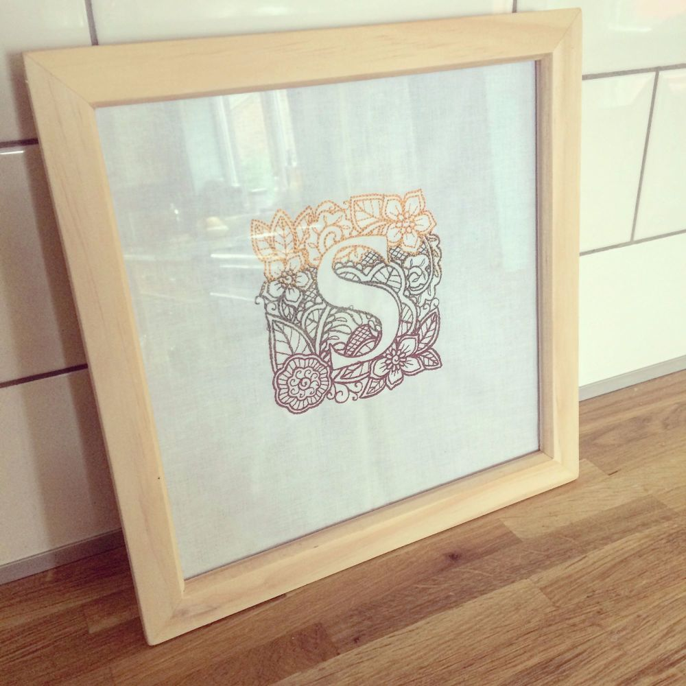 Personalised embroidered light box frame